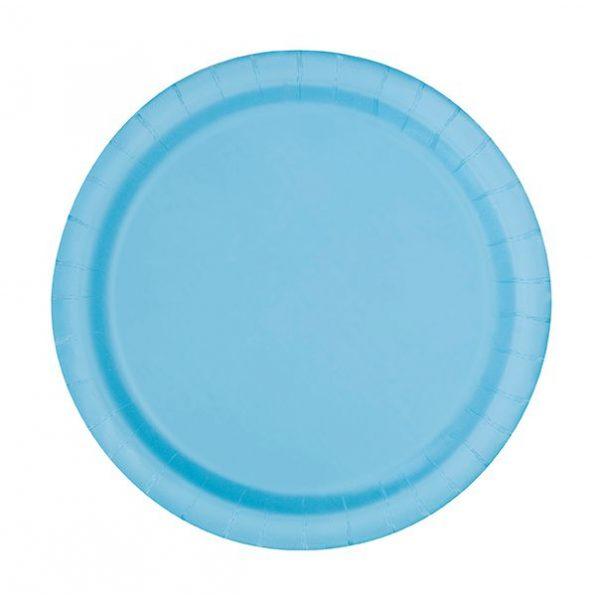 20 Runde Pappteller Hellblau 18 cm-0