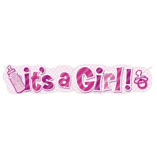 """It's a Girl"" XXL Banner Baby Mädchen Rosa Pink-3218"