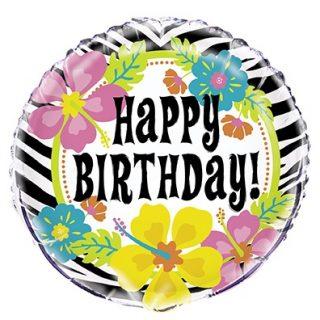 "Folienballon ""Happy Birthday"" Wild Flower Luau Party-0"