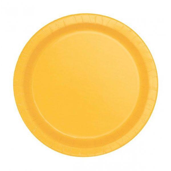 20 Runde Pappteller Gelb 18 cm-0