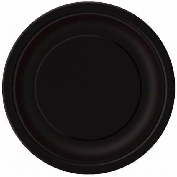 8 Runde Pappteller Schwarz 23 cm-0