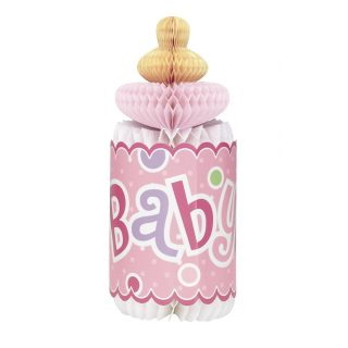 Babyflasche Wabendeko Aufsteller Tischdekoration Mädchen Rosa-0