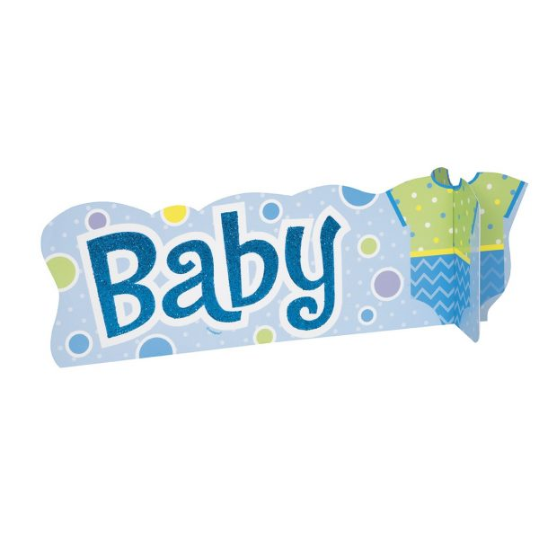 """""""Baby"""" Aufsteller Tischdekoration Junge Blau-0"""