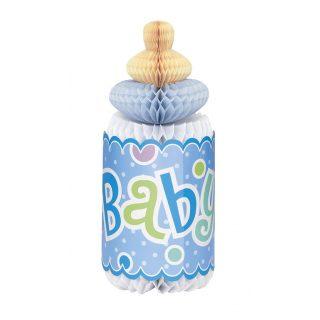 Babyflasche Wabendeko Aufsteller Tischdekoration Junge Blau-0