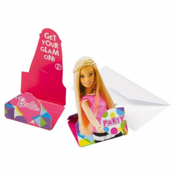 8 Einladungen Barbie Sparkle -0