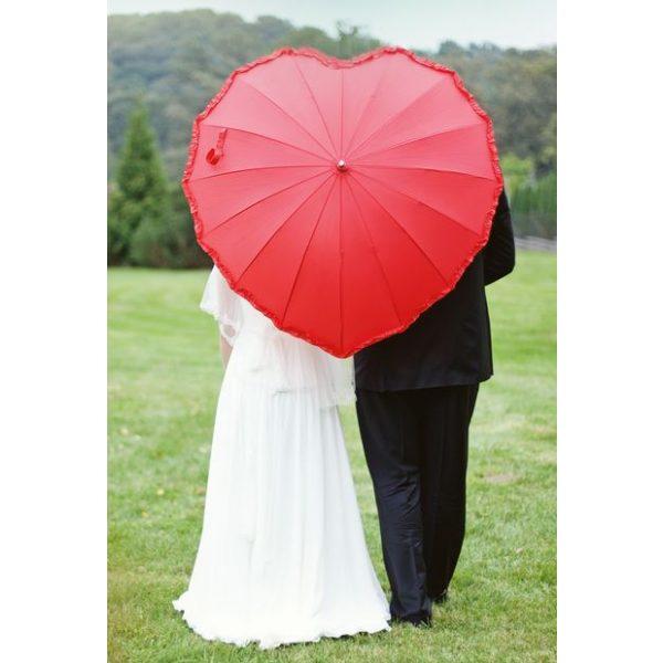 Herz Regenschirm Rot-0