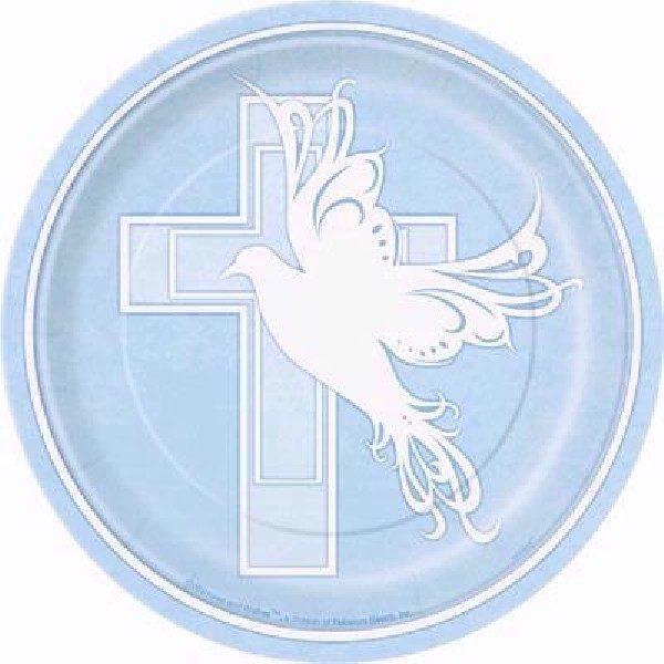8 Pappteller Baby Taufe Blau mit Kreuz-0
