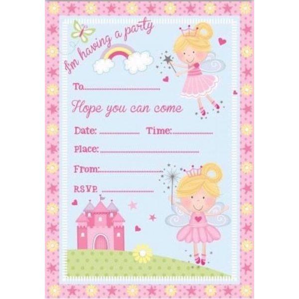 8 Einladungen Fee Prinzessin Party-0