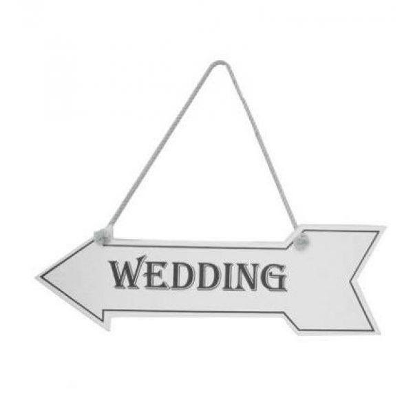 """""""Wedding"""" Hochzeitsschild Wegweiser Weiss-0"""