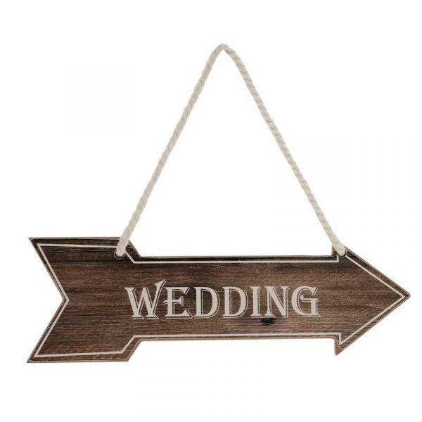 """""""Wedding"""" Hochzeitsschild Wegweiser Braun-0"""