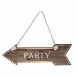 """Party"" Schild Wegweiser Braun-0"