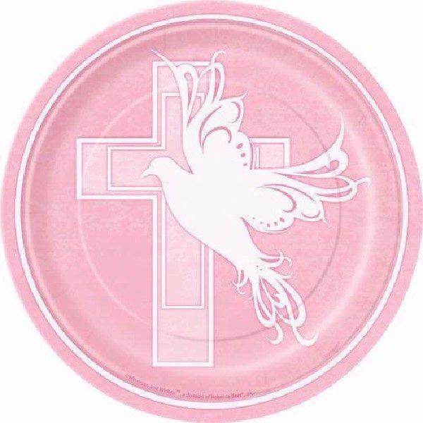 8 Pappteller Baby Taufe Pink mit Kreuz-0