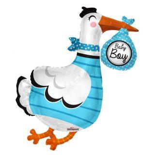 XL Blau Storch Baby Boy Folienballon 90 cm -0