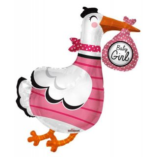 XL Pink Storch Baby Girl Folienballon 90 cm-0