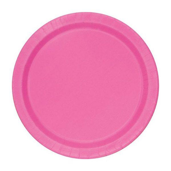 20 Runde Pappteller Pink/Rosa 18 cm-0