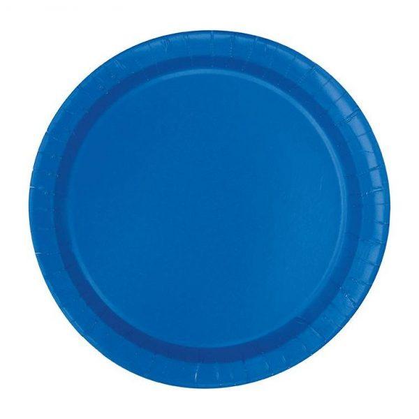 20 Runde Pappteller Blau 18 cm-0