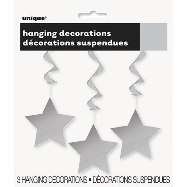 3 Silber Sterne Spiraldeko Swirl-Deko Hängedekorationen-3998