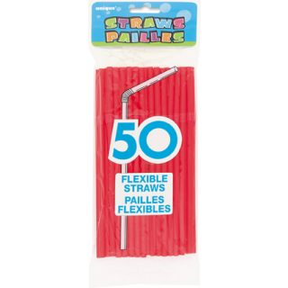 50 Knick-Strohhalme Rot-0
