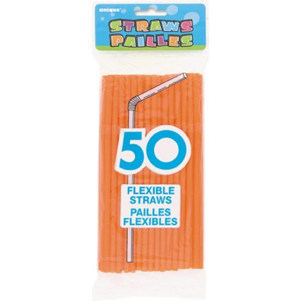 50 Knick-Strohhalme Orange-0