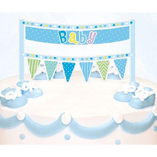 Blau Banner Tortendeko für die Baby Party-0