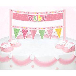Rosa Banner Tortendeko für die Baby Party-0