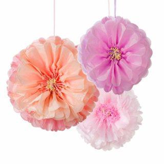 3 Pastel Blumen Hängedekorationen Decadent Decs-0
