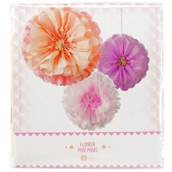 3 Pastel Blumen Hängedekorationen Decadent Decs-4120