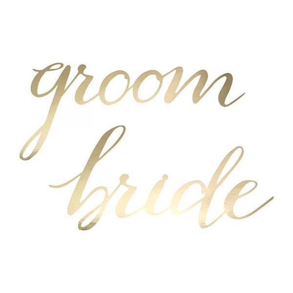 Bride & Groom Schilder Gold Buchstaben-3850