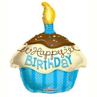Happy Birthday Blau Cupcake Folienballon 45 cm-0