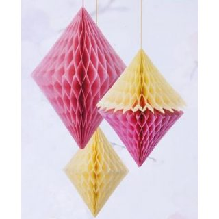 3 Pastel Diamond Wabendekoration Rosa & Gelb-0