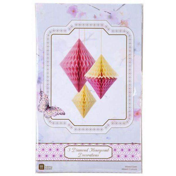 3 Pastel Diamond Wabendekoration Rosa & Gelb-4116