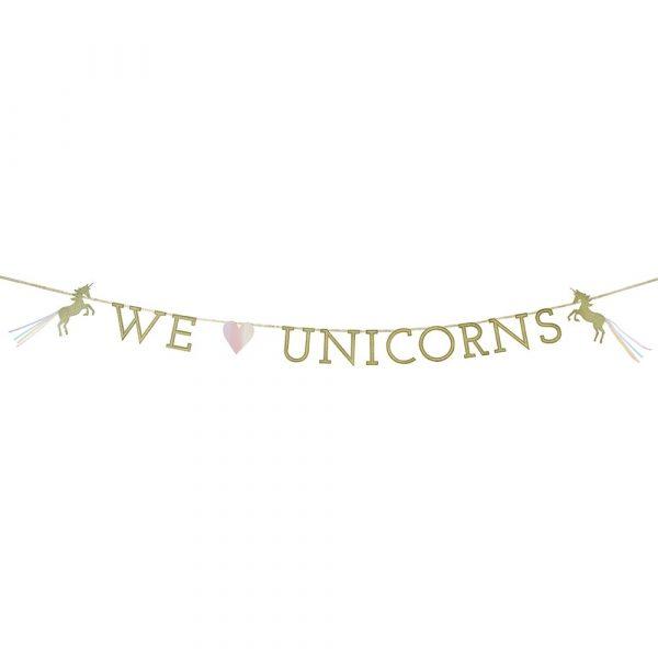 We ♥ Unicorns Gold Glitzer Einhorn Girlande-4086