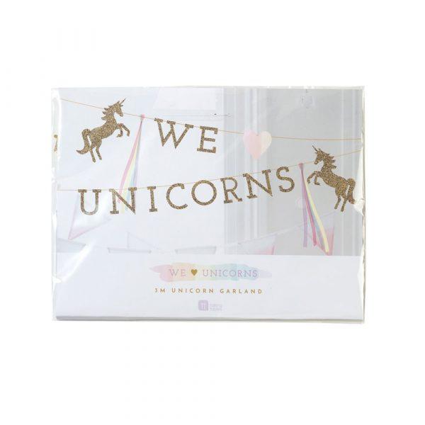 We ♥ Unicorns Gold Glitzer Einhorn Girlande-4085