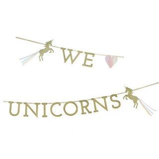 We ♥ Unicorns Gold Glitzer Einhorn Girlande-0