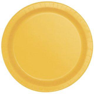 16 Runde Pappteller Gelb 23 cm-0
