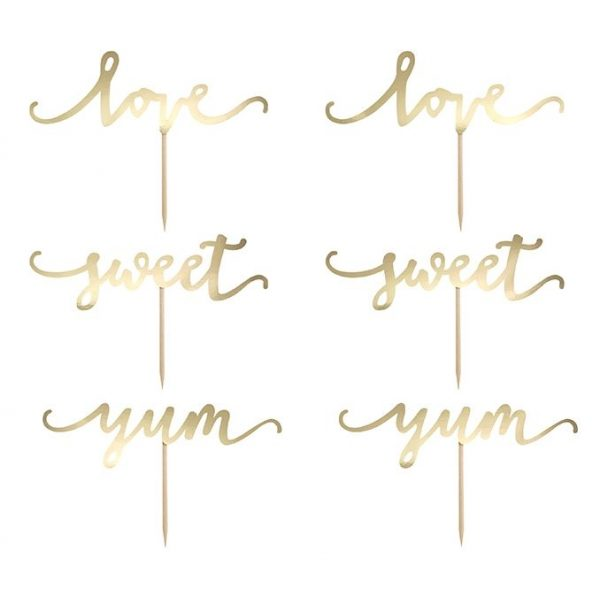 6 Gold Cupcake Picker Love Sweet Yum -3833