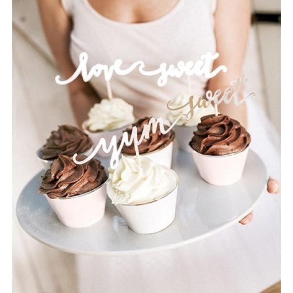 6 Gold Cupcake Picker Love Sweet Yum -0