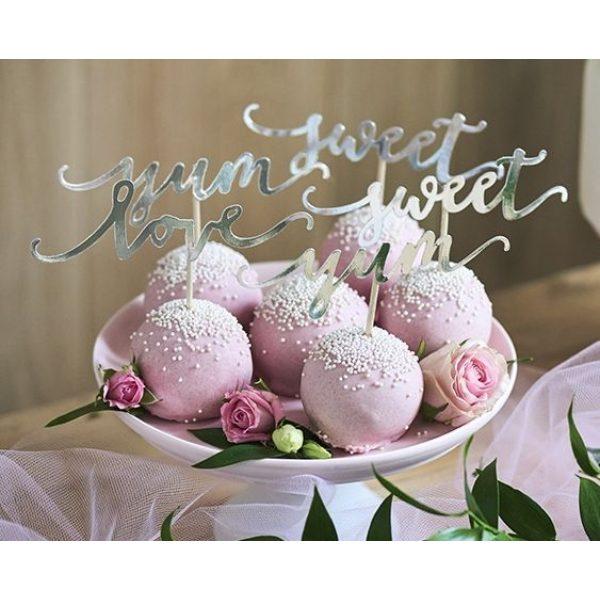 6 Silber Cupcake Picker Love Sweet Yum -0