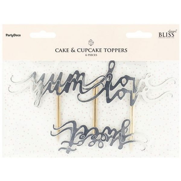 6 Silber Cupcake Picker Love Sweet Yum -3828