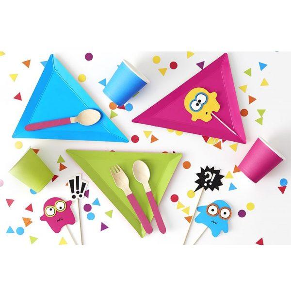 6 Bunte Eckige Party Pappteller-3777