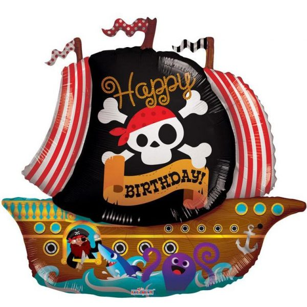 XL Piratenschiff Folienballon Happy Birthday 90 cm-0