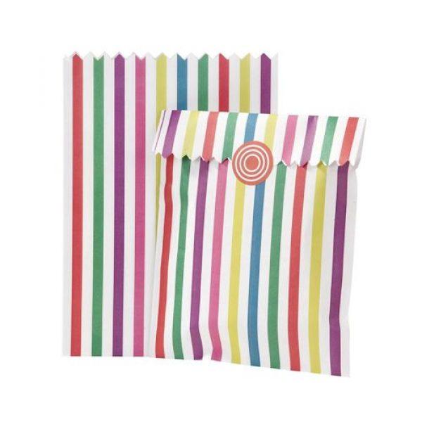10 Regenbogen Papier Partytüten & Sticker-0
