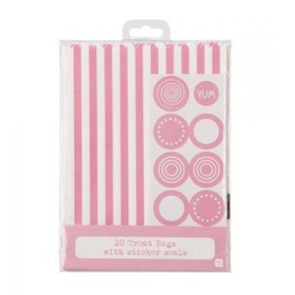 10 Rosa Weiß Candytüte Stripes Streifen-4151