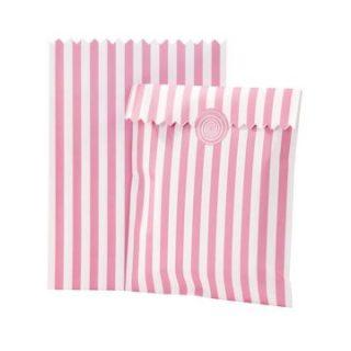 10 Rosa Weiß Candytüte Stripes Streifen-0
