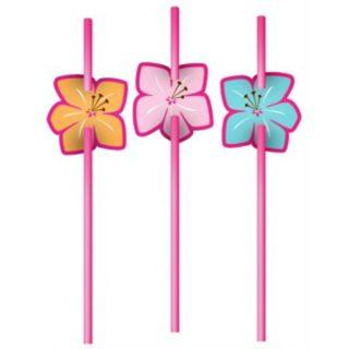 6 Strohhalme mit Blume Sommer Luau Pool Party-0