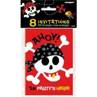 8 Pirat Ahoi Geburtstagsparty Einladungen-0