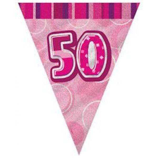 50. Geburtstag Wimpelkette Pink Glitz-0