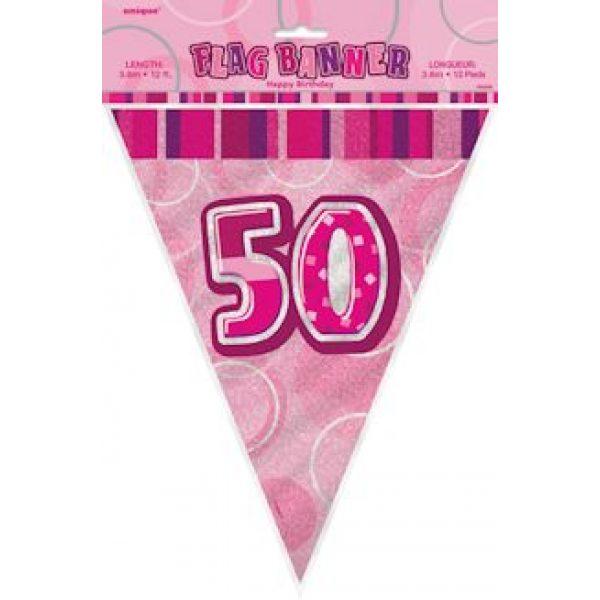 50. Geburtstag Wimpelkette Pink Glitz-4296