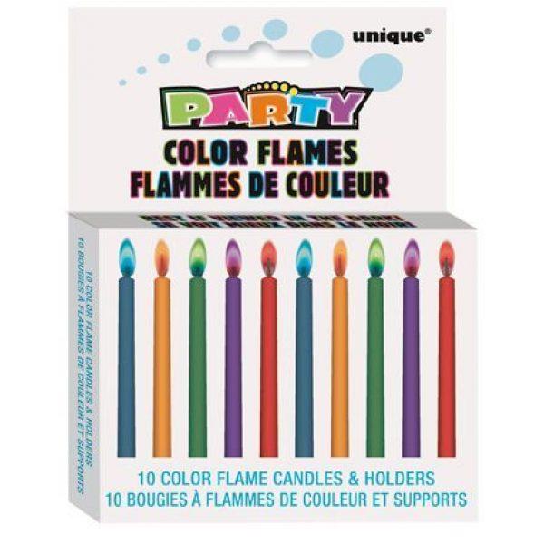 10 Color Flames Farbflammen Tortenkerzen -4283
