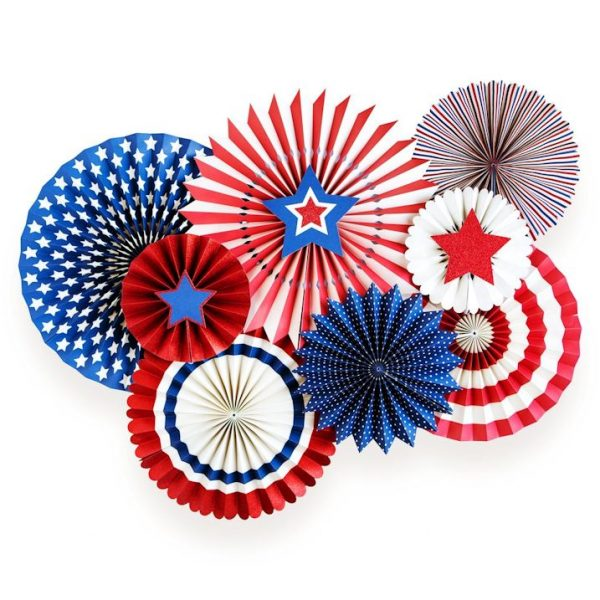 8 Stars & Stripes Deluxe Party Fans Set-4614